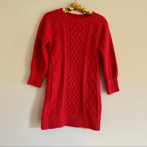 Baby Gap Red Cable Knit Sweater Dress